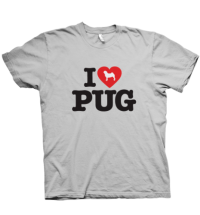 I LOVE PUG Unisex Sports Grey T Shirt – SALE!