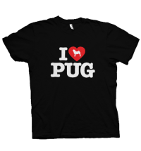 I LOVE PUG Unisex Black T Shirt – SALE!