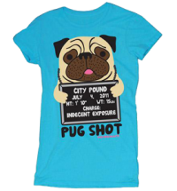PUG SHOT DOODLE WOMENS T-SHIRT – SALE