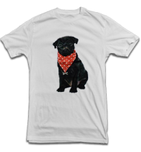 Cute Black Pug Unisex White T-Shirt
