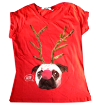 Rudolph Red Nose Pug Kids T-shirt