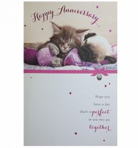 Large Pug & Cat Happy Anniversary card