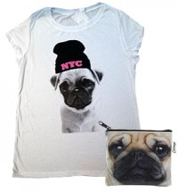 NYC Pug Ladies T-Shirt & Zip Purse