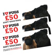 I LOVE PUGS £50 GIFT VOUCHER