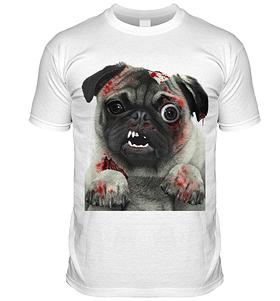 Zombie Pug T Shirt (Adult Unisex)