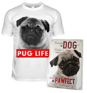 Fathers Day Pug Card & T Shirt Combo