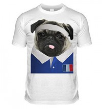 France Rugby Pug T Shirt (Adult Unisex)