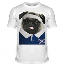 Scotland Rugby Pug T Shirt (Adult Unisex)