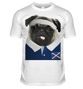 Scotland Rugby Pug T Shirt (Adult Unisex)