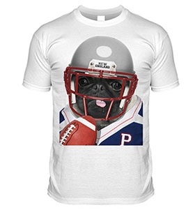 New England American Football Pug T Shirt (Adult Unisex)