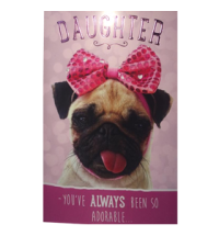 Daughter Birthday Pug Card