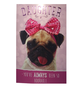 daughter birthday pug card  i love pugs, Birthday card