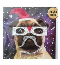 Flash Back Christmas Pug Card