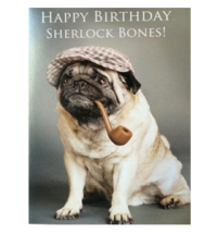 Sherlock bones Happy Birthday Pug Card