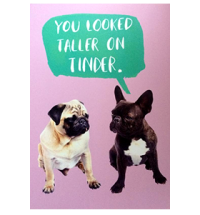 Tinder Pug Post Card