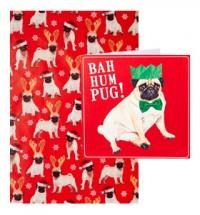Bah Humbug Card & Pug Christmas Wrapping roll combo