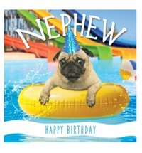 Nephew Happy Birthday Pug Card