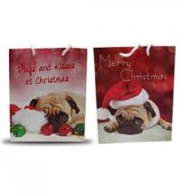 Large Christmas Pug Gift Bags