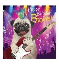 Brother Rock Pug Birthday Card