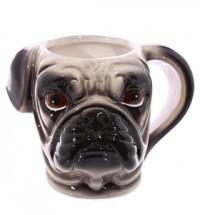 Ceramic Pug Head Shaped Mug
