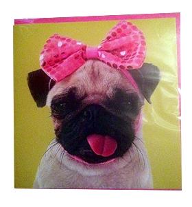 Pug pink bow card