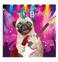 Rock Pug Birthday (Gogglie Eye) Card