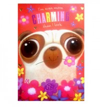 Charming Valentines Pug Card