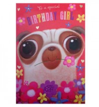 Happy Birthday Pug lady Card