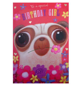 Happy Birthday Pug lady Card