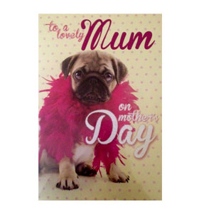 Large Mothers Day Pug Card