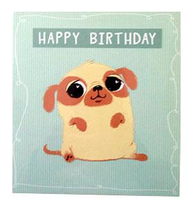 Cartoon Happy Birthday Pug Card