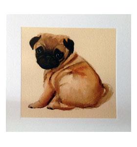 Portrait Blank Pug Card