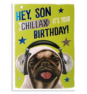Hey Son Birthday Pug Card