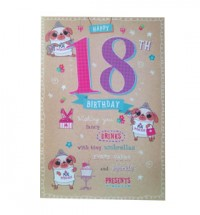 Large Happy 18th Pug Birthday card