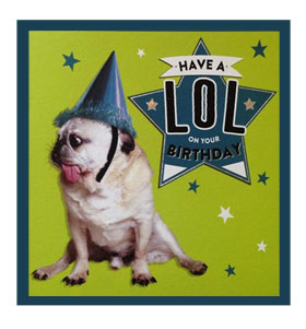 Lol pug birthday Card