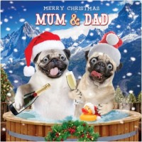 Luxury Pug Mum & Dad Christmas card