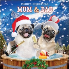 Luxury Pug Mum & Dad Christmas card