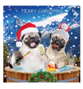 Pug Christmas Hot Tub Card I Love Pugs