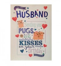 Pug husband birthday card