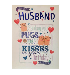 Pug husband birthday card