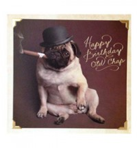 Pug top hat birthday card