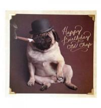 Pug top hat birthday card
