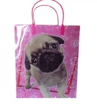 Large Pug Puppy Pink gift bag
