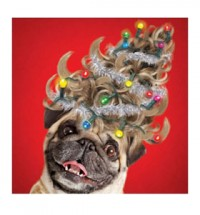 Pug Christmas tree wig card