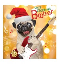 Pug Brother Rock Christmas card
