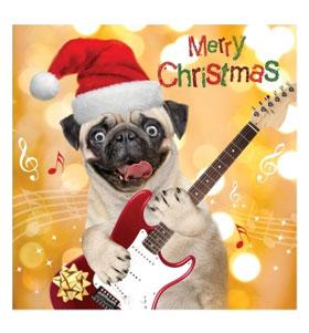 Luxury Pug rock Christmas card
