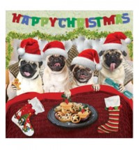 Pug Christmas stocking card