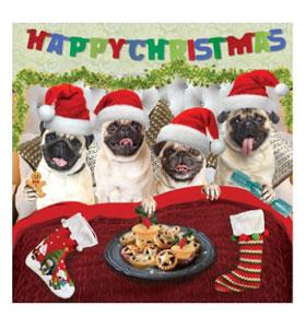 Luxury Pug Christmas stocking card
