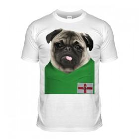 Northern Ireland Pug Football T-Shirt (Adult Unisex)