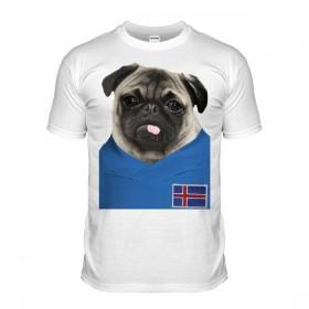 Iceland Pug Football T-Shirt (Adult Unisex)